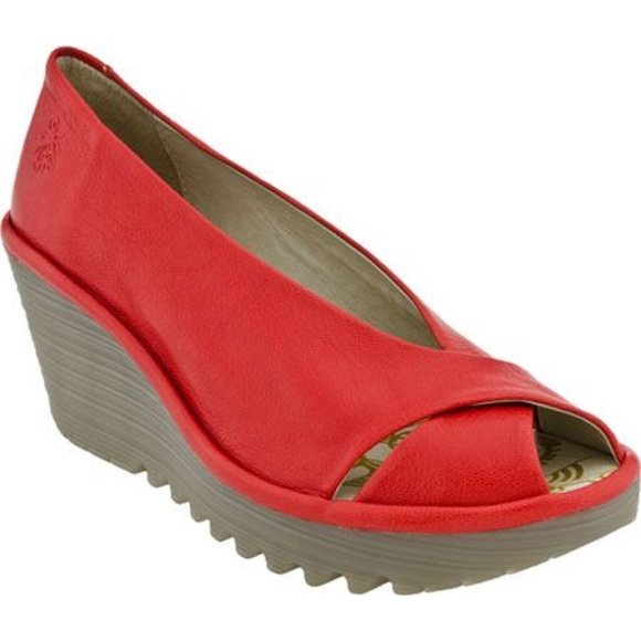 189430dac8 Fly London Shoes - FLY LONDON US 8 Red Yaff leather peep toe wedge